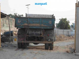 A truck gets into the Yaqshid garden where it is  taking out the earth.